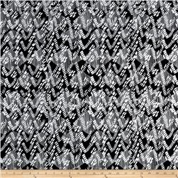 Rayon Challis Cross Road Print Black White