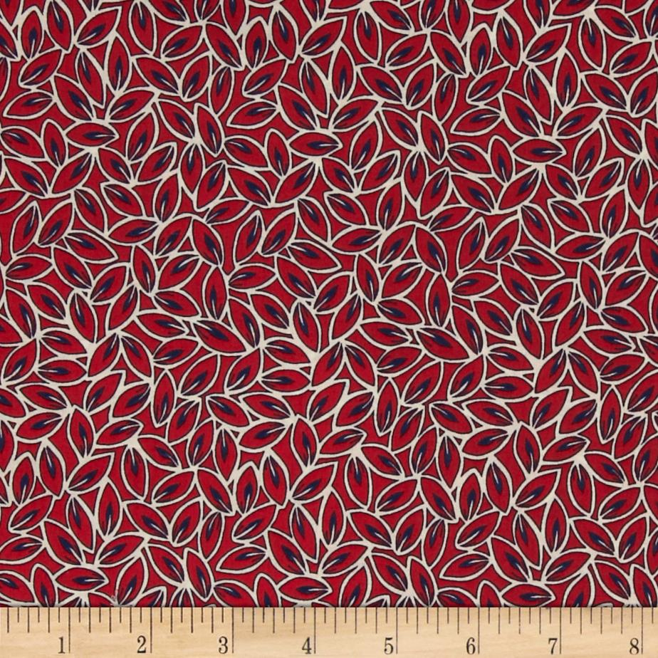 Kaufman London Calling Lawn Leaves Red