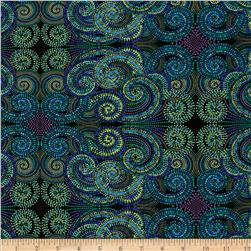 Palindromes Totem Blue/Green Fabric