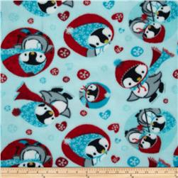 Fleece Penguin Blue Fabric