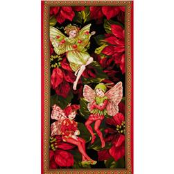 Michael Miller Christmas Flower Fairies Panel Red