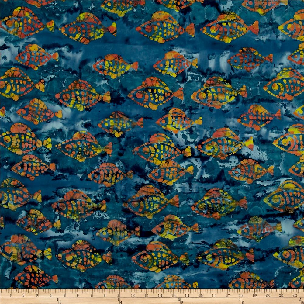 Indian Batik Small Fish Blue/Gold/Red