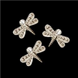 Novelty Button 3/4'' Dragonfly Silver