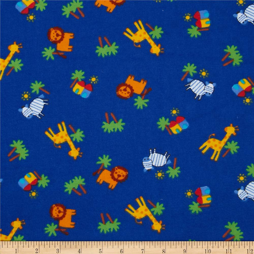 Flannel Novelties Tossed Jungle Animals Blue