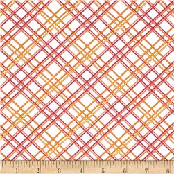 Gramercy Diagonal Square White/Pink Fabric