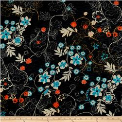 French Designer Tissue Jersey Knit Floral Black/Red/Aqua