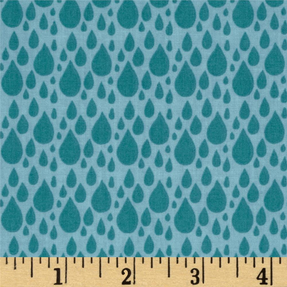 Moda Little Things Organic Raindrop Aqua