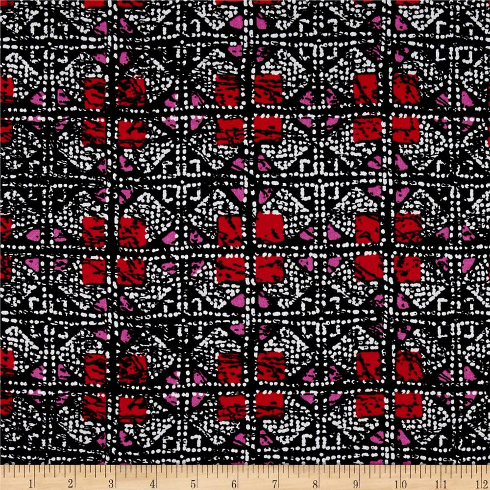 Shades Squares Rayon Crepe Print Black/Red