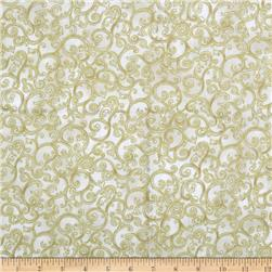 Esmeralda Metallic Scroll Linen Cream