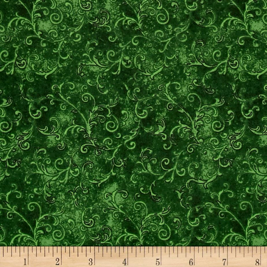 "Essentials 108"" Wide Back Flannel Filigree Dark Green"