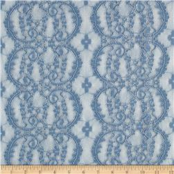 Lace Mesh Stripe Scroll Dusty Blue
