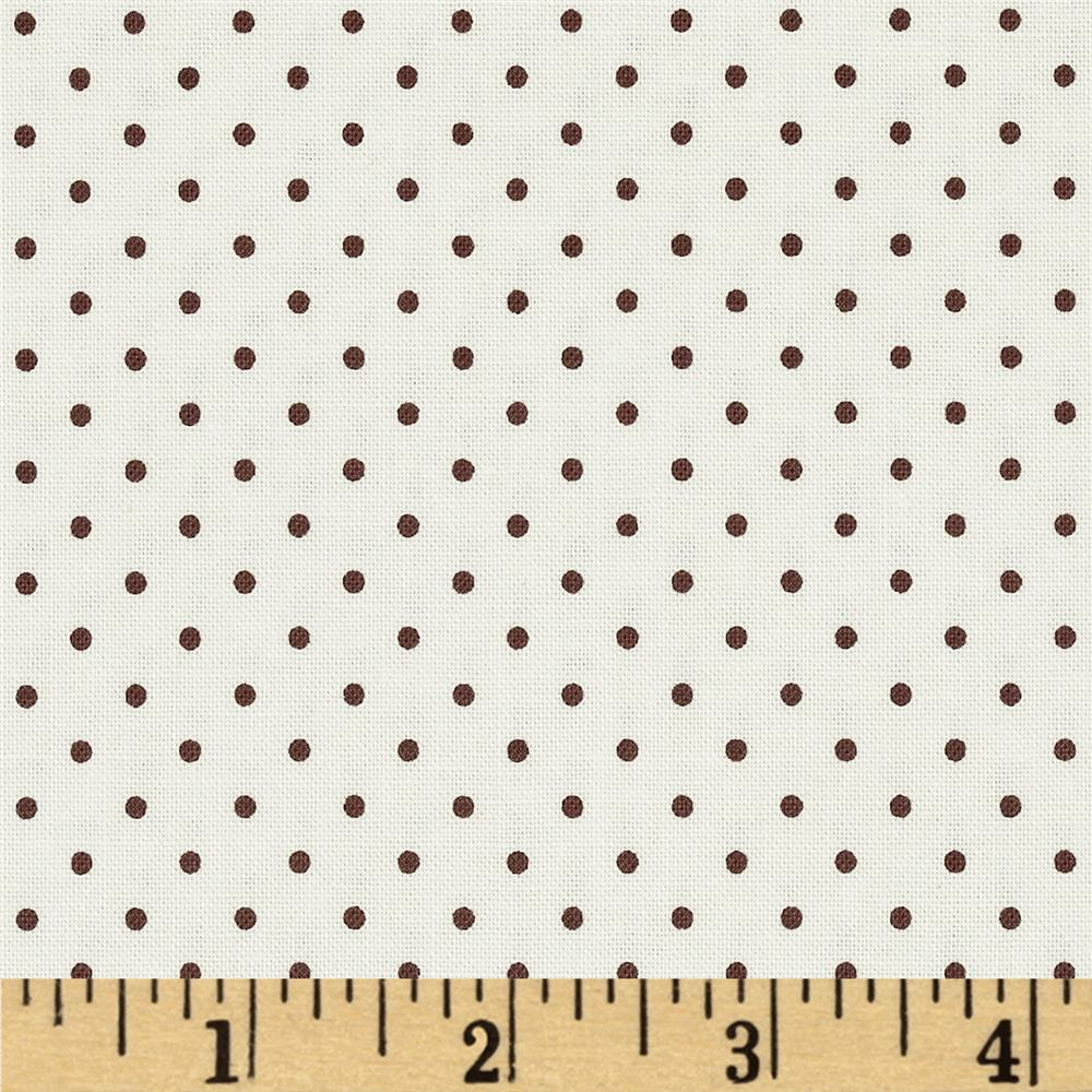 Riley Blake La Creme Basics Swiss Dots Cream/Brown