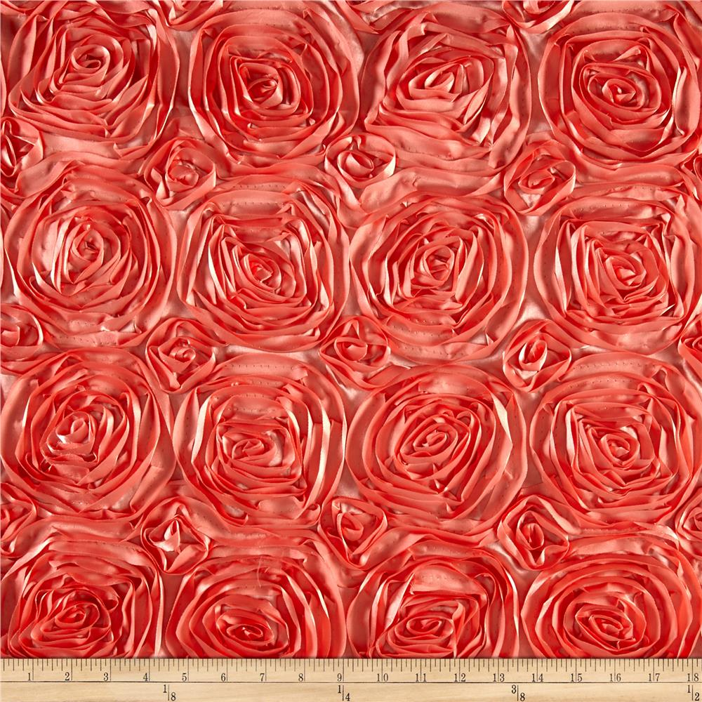 Wedding rosette satin coral discount designer fabric for Satin fabric