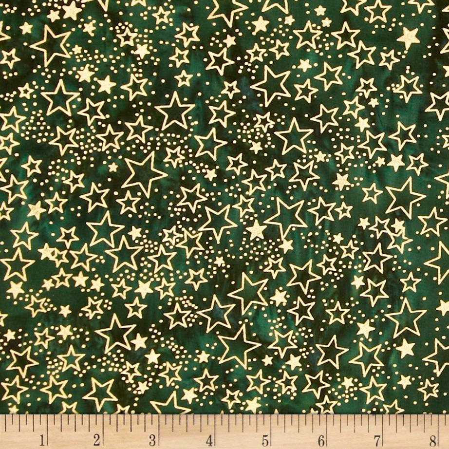 Island Batik Holiday Stars Metallic Green
