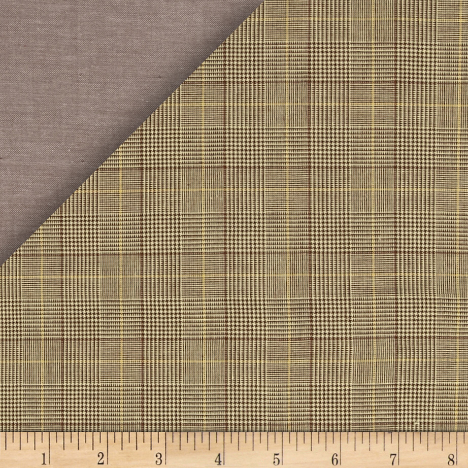 Kaufman Double Cloth Cotton Glen Plaid Khaki Fabric