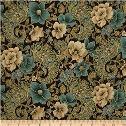 Marrakesh Metallic Paisley Floral Brown