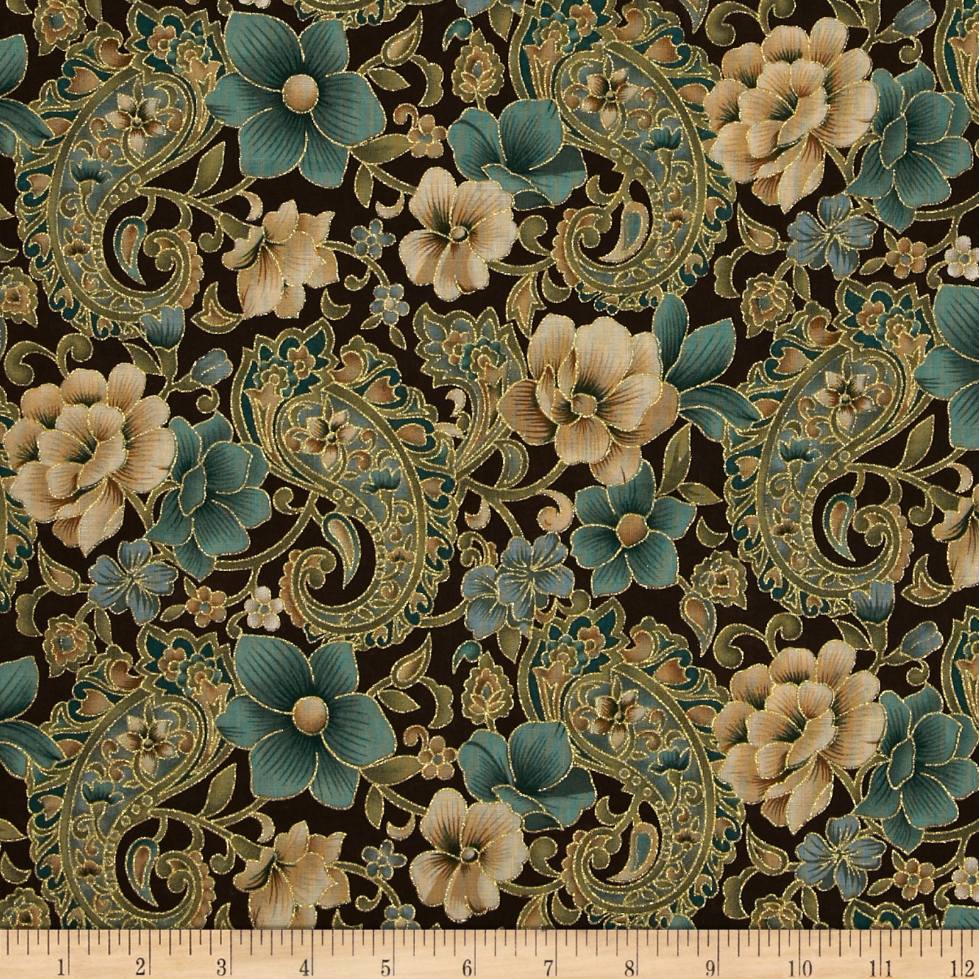 Marrakech Metallic Paisley Floral Brown Fabric by Fabric Traditions in USA