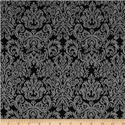 Holly Jacquard Knit Damask Black/White Fabric