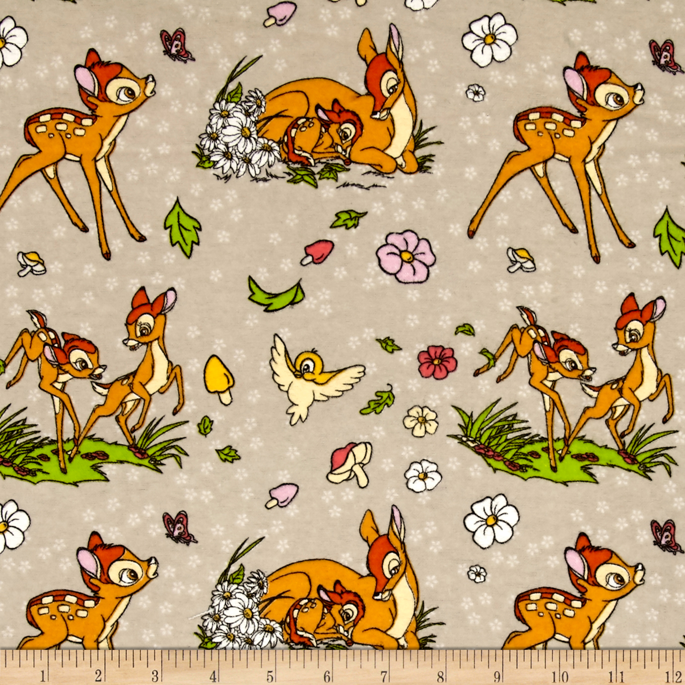 Disney Flannel Bambi Taupe Fabric by Eugene in USA
