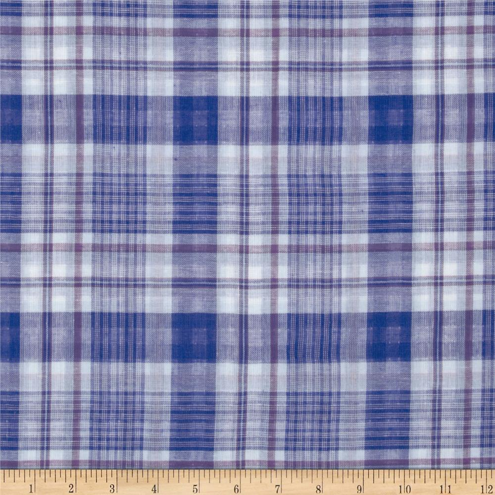 Designer Shirting Plaid Blue/White/Purple
