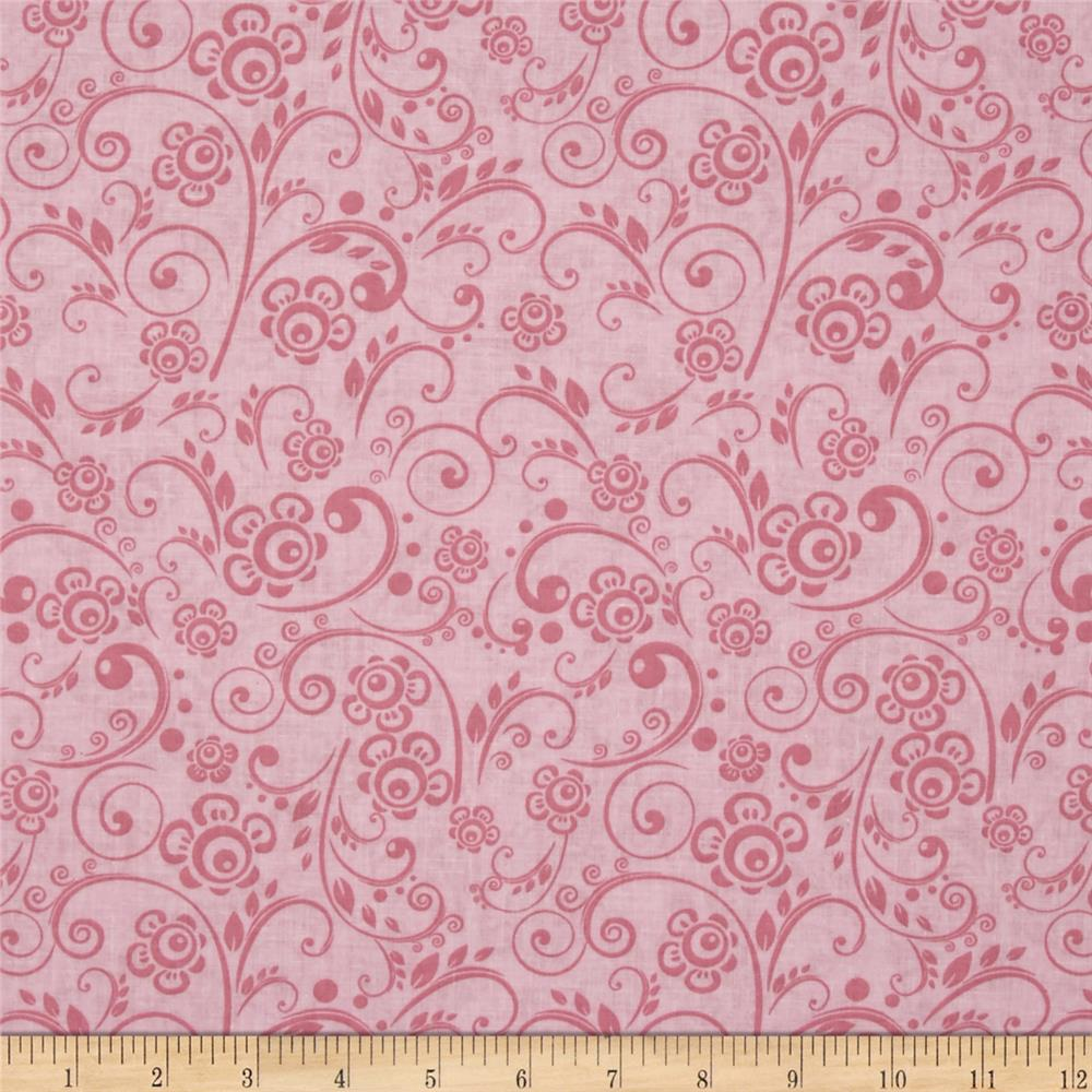 "108"" Wide Quilt Back Floral Swirl Pink"