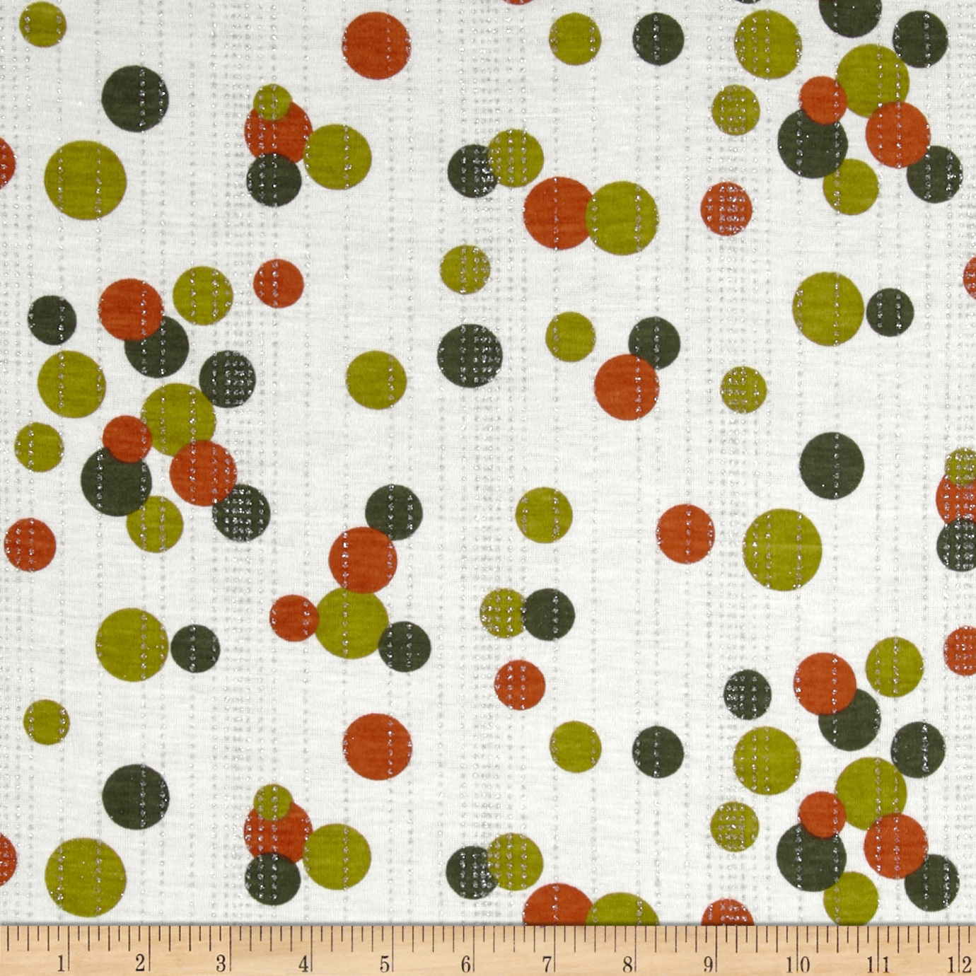 Stretch Rayon Blend Jersey Knit Dots White/Green/Orange