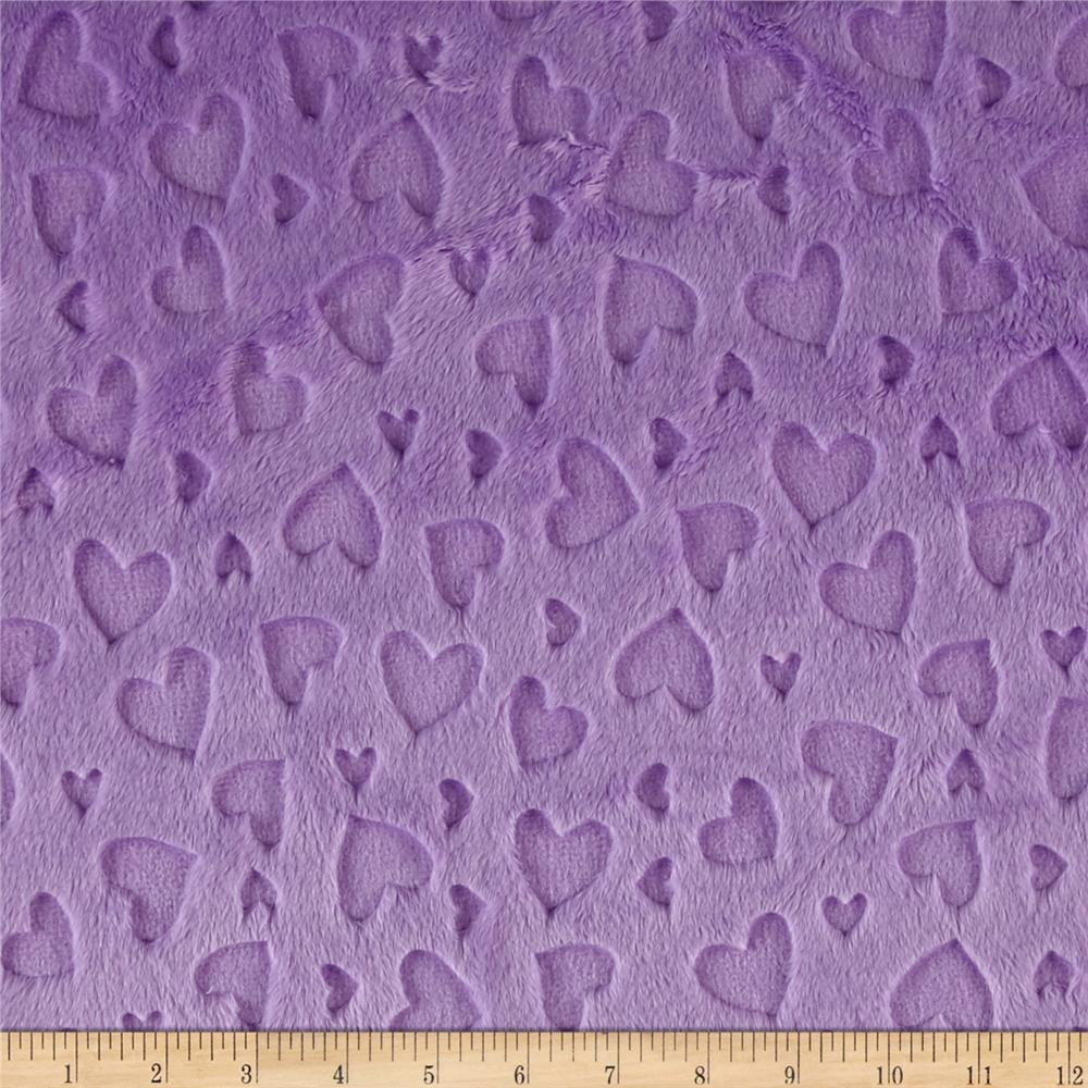 Minky Embossed Heart Cuddle Lilac