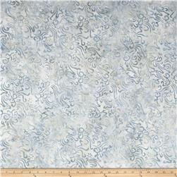 Indonesian Batik Small Scroll Flower Dusty Light Grey Blue