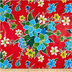 Oil Cloth Hibiscus Red