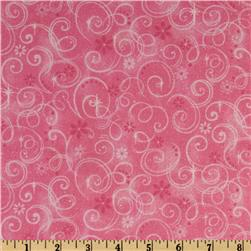 Make Believe Glitter Swirls Pink Fabric