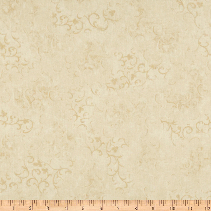 108'' Essential Scroll Quilt Backing Ivory Fabric