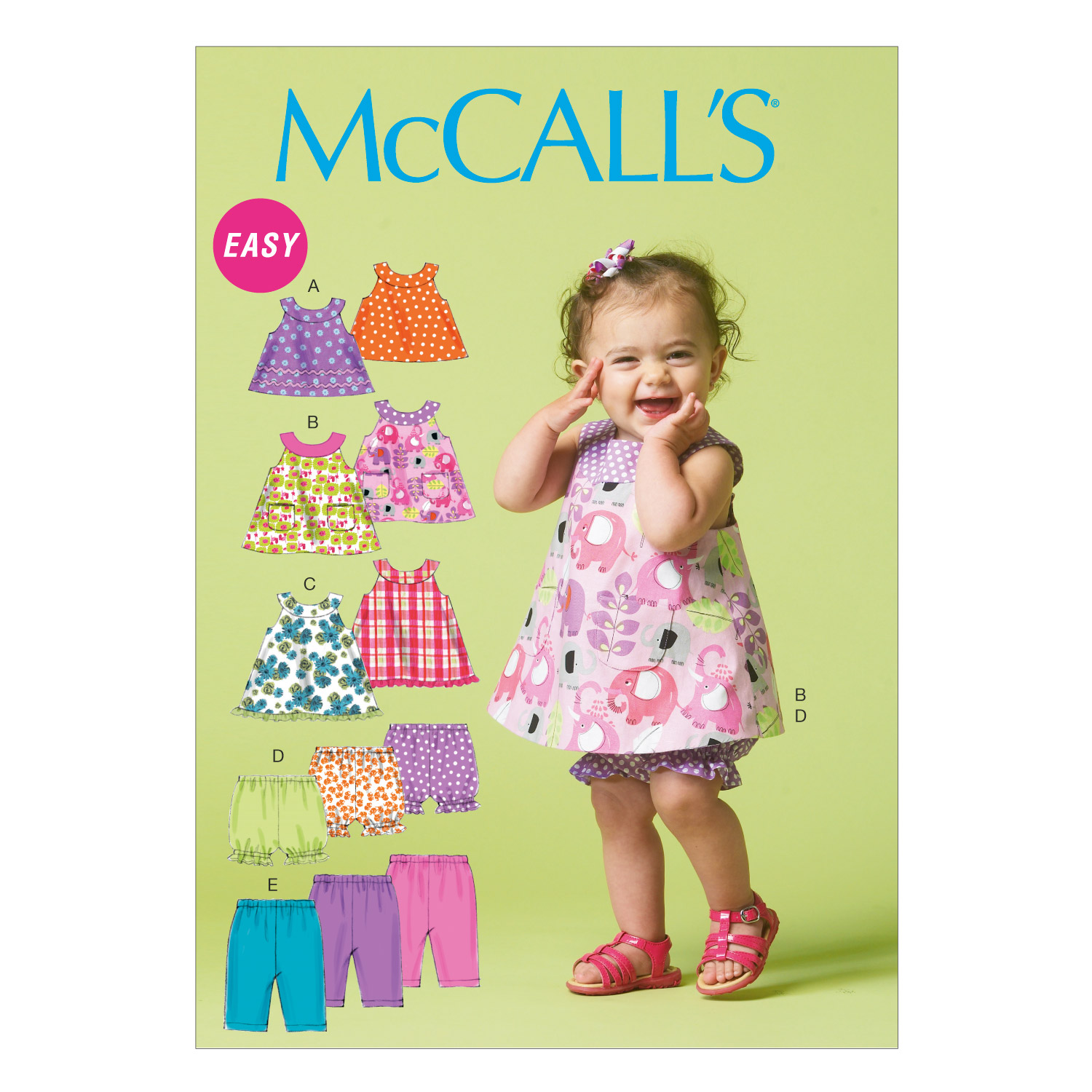 McCall's Infants' Reversible Top Dresses; Bloomers and Pants Pattern M6912 Size YA5 by Kwik Sew in USA