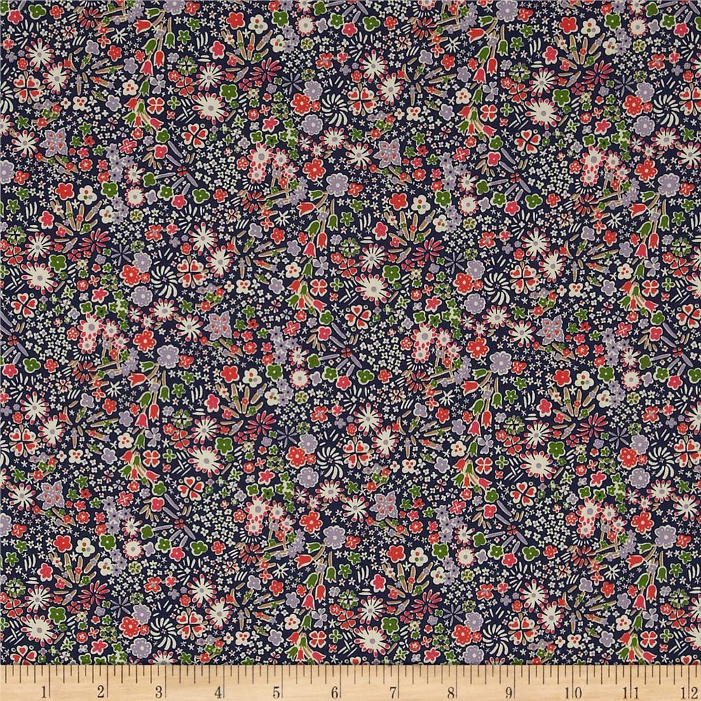 Liberty of London Classic Tana Lawn Wild Flowers Kayoko Navy/Green/Pink