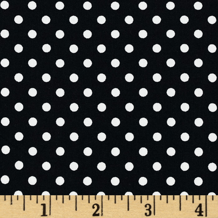 Aunt Grace Dots Black Fabric
