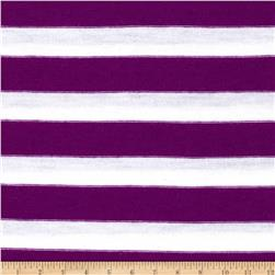 Stretch Blend Yarn Dyed Jersey Knit Stripes Purple/White