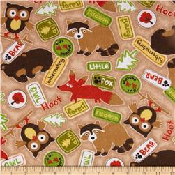 Comfy Flannel Woodland Critters & Signs Brown