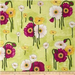 Michael Miller Vignette Gathered Poppies Lime