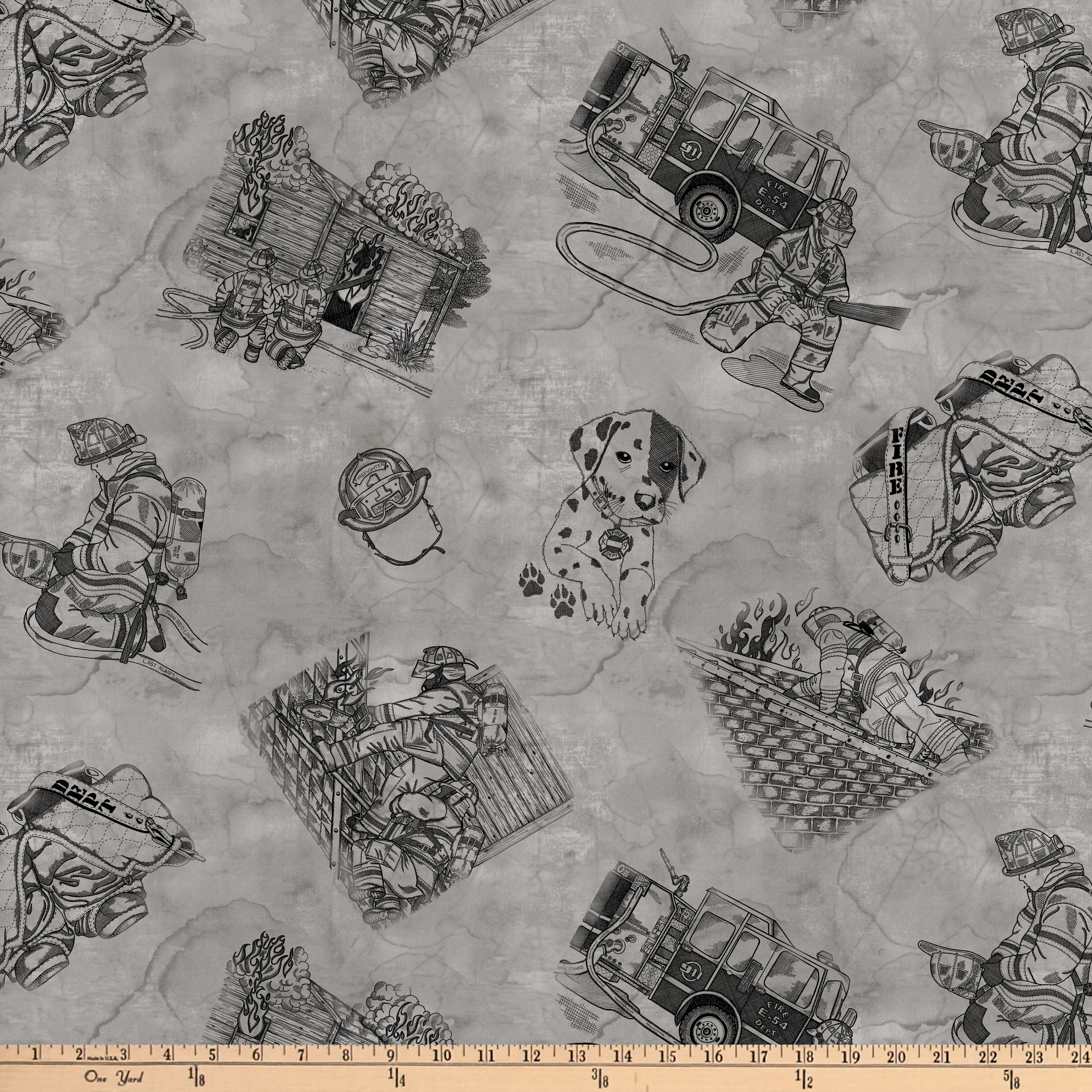 Thin Red Line Toile Gray Fabric