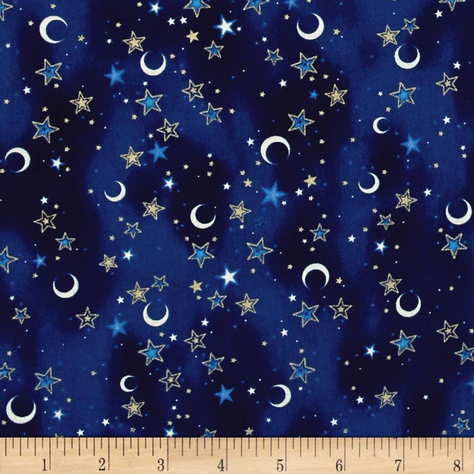 Celestial sol metallic crescents stars dark blue for Celestial pattern fabric