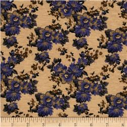 Designer Stretch Jersey Knit Floral Blue/Tan