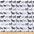 Stretch Jersey Knit Horses White/Grey/Charcoal
