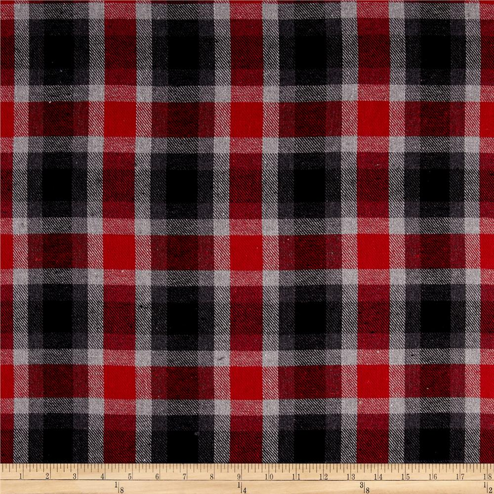 Yarn dyed flannel plaid red grey discount designer for Flannel fabric