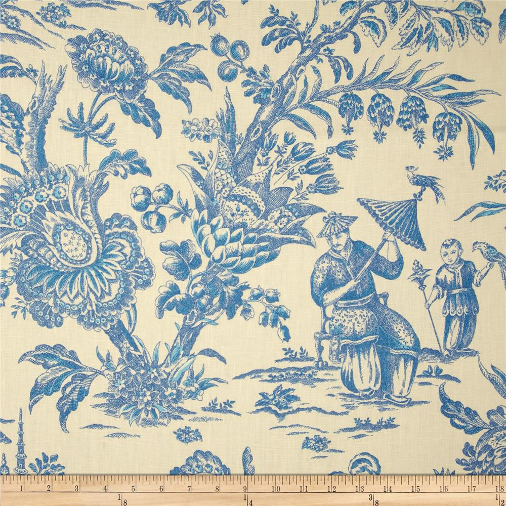 Waverly Williamsburg Asian Arcadia Toile Linen Sapphire