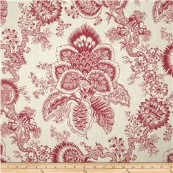 Duralee 100% Linen Floral Red Fabric