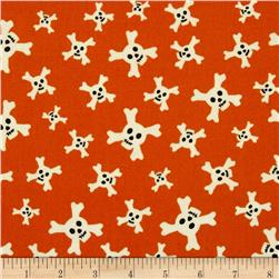 Riley Blake Treasure Map Flannel Skulls Orange