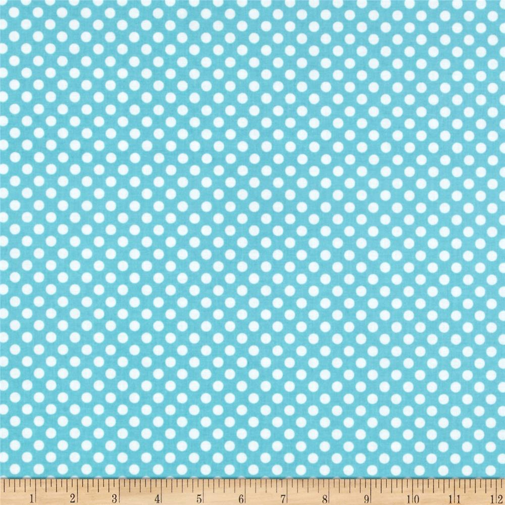 Riley Blake Laminate Small Dots Aqua/White