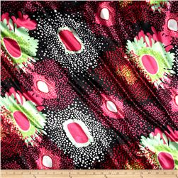 Charmeuse Satin Abstract Hot Pink/Red/Black/Mint