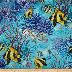 Coral Sea Double Faced Quilted Fish Aqua Fabric