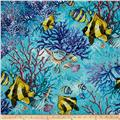 Coral Sea Double Faced Quilted Fish Aqua