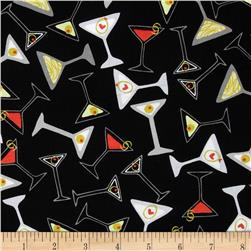 Kanvas Shaken or Stirred Toss Martini Black Fabric